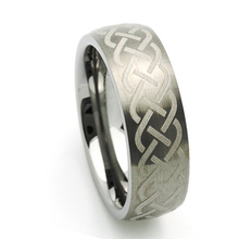 Flat Polished Finish Laser Engraved Celtic Ring Tungsten Carbide Rings