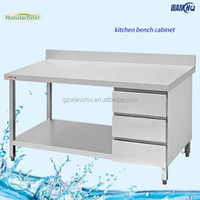 Square Legs Stainless Steel Kitchen Work Table with Drawers/ Restaurant Used Stainless Steel Work Bench for Industrial Kitchen