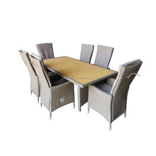 Long Rattan Dinner Tables and 6 Chairs Outdoor Dining Furniture Sets