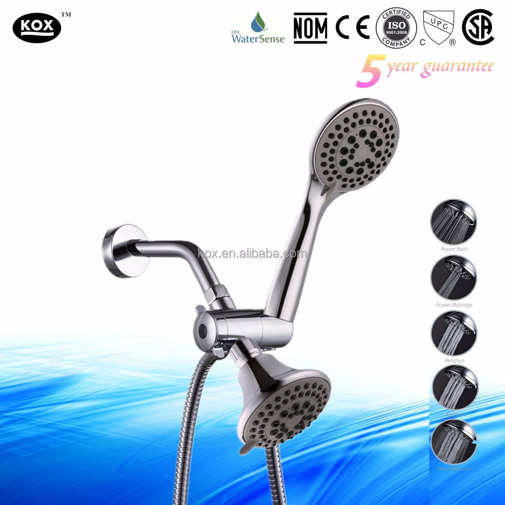 High Pressure Massage Flow or Low Pressure Misting Spray Double Multi-Setting Shower Heads with Rainfall Dual Rain Shower Head S