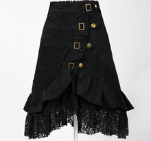wholesale stock 2018 gothic punk clothing retro vintage design black a line lace metal <strong>skirt</strong>