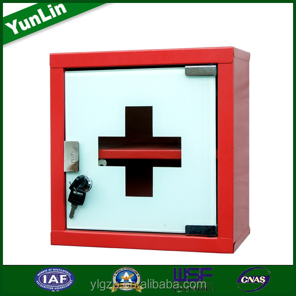 Glass door red powder coating metal first aid kit tool box