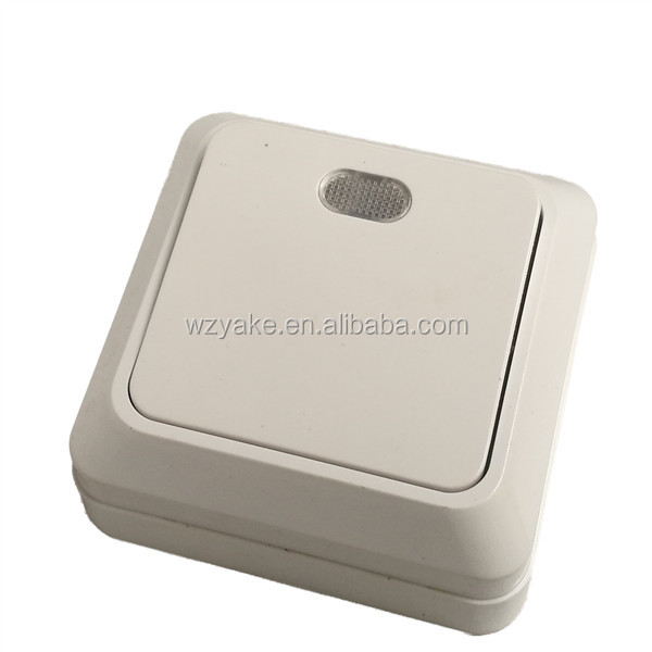 1801European style surface mounted 1 gang 1 way wall switch with light