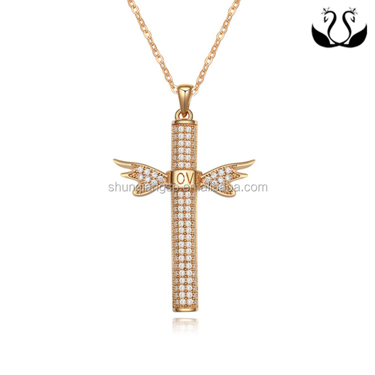 Modern Inlaid Cubic Zirconia Angel Wings Cross Pendant Necklace