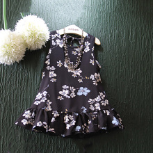 Lovely Sleeveless Printing Flower Girl Black Model Dresses for Girls