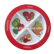 Cute Design Wholesale 4 Compartments Melamine Plastic Plate with Divider for Lunch
