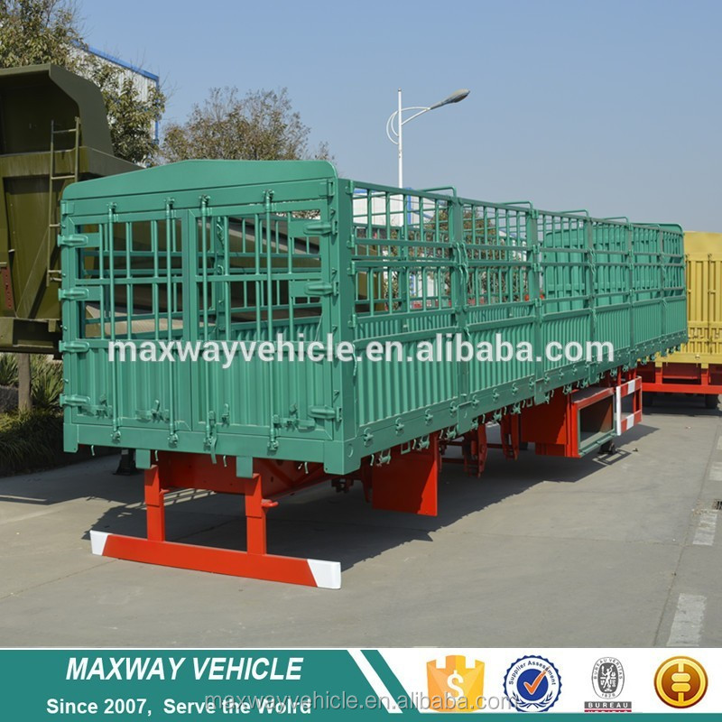 China 50ton tri axle poultry transport fence semi truck trailer with low price