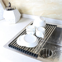 hot sell over sink roll-up 15 tubes stainless steel dish drying rack