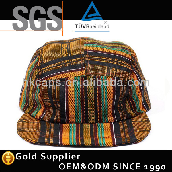 Nylon buckle custom national woven style 5 panel camp hat cap