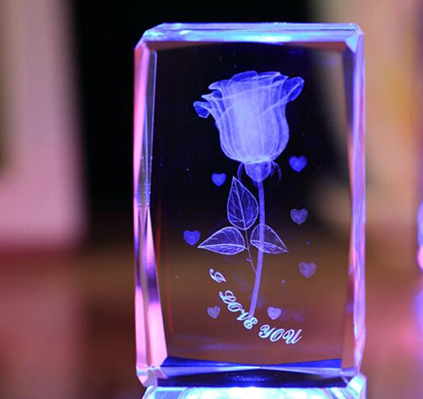 3d Laser Crystal Cube Red Rose Crystal Valentine Gifts Buy 3d