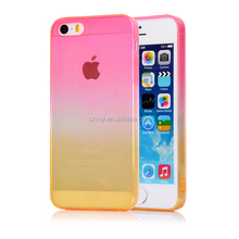 Factory cost bulk production gradient color change crystal clear ultra thin TPU mobile phone back cover case for iPhone 5 ip5s