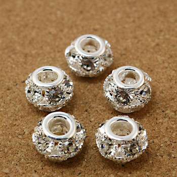 Wholesale 50pcs/lot 11x13mm Round Shape White AB Rhinestone Hollw Ball Spacer DIY Beads Fit European Bracelet DH-BJA045-69