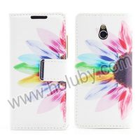 Colorful Chrysanthemum Carinatum Card Slots Design Magnetic Flip PC+PU Leather Elegant Case for HTC One Mini M4