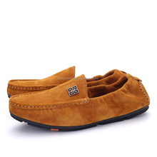Laest design Man Casual Flat Leather Loafers Khaki Doug Shoes With Rubber Sole