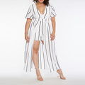 Striped Plus Size Jumpsuits with Maxi Skirt Overlay