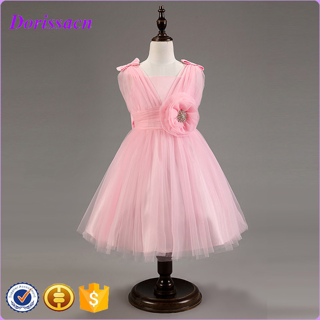 New Fashion Baby Flower Girl Pink Dresses Wedding Birthday Evening Party Bridesmaid Dresses For Children Kids Clothing C-95