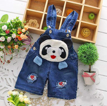 Custom Cotton Short lovely panda printed Denim jumpsuit Design for Kids/baby overalls