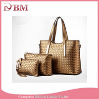 Cheap fashion pu leather 3-piece hand bag women's handbag set