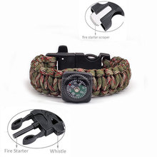 KongBo outdoor fire starter paracord survival bracelet with compass