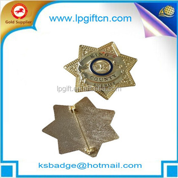 Supply zinc alloy metal badge clip safety pin