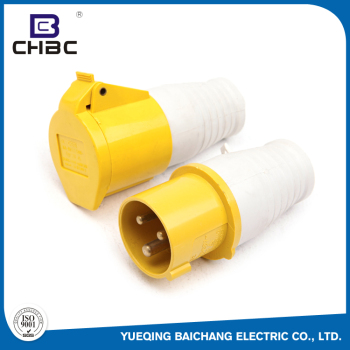 CHBC 110V-130V Yellow Waterproof Industrial Electric Plug And Socket With 3 Pin