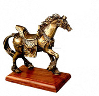 BRASS ANTIQUE BRONZE FINISH WALKIING HORSE STATUE ON WOOD BASE FOR HOME DECORATION, INDIAN INDOOR HORSE DECORATION