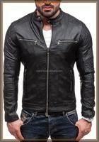 2017 1New Besign OEM Service Spring Fashion New Men's Genuine Lambskin Leather Jacket Black Slim fit Biker Motorcycle jacket