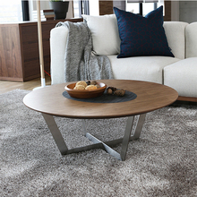 Classic silver iron X legs solid wood design oval top metal coffee table
