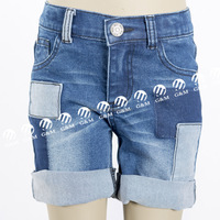new products 2016 innovative product high quality with patch and raw wash girls jeans,girls shorts