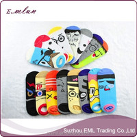 Low Price Cute Cartoon Funny Face Couple Ankle Sock