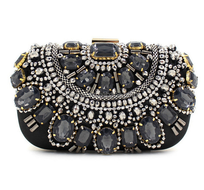 2017 Popular unique fancy ladies party clutch purses evening purse with full stones