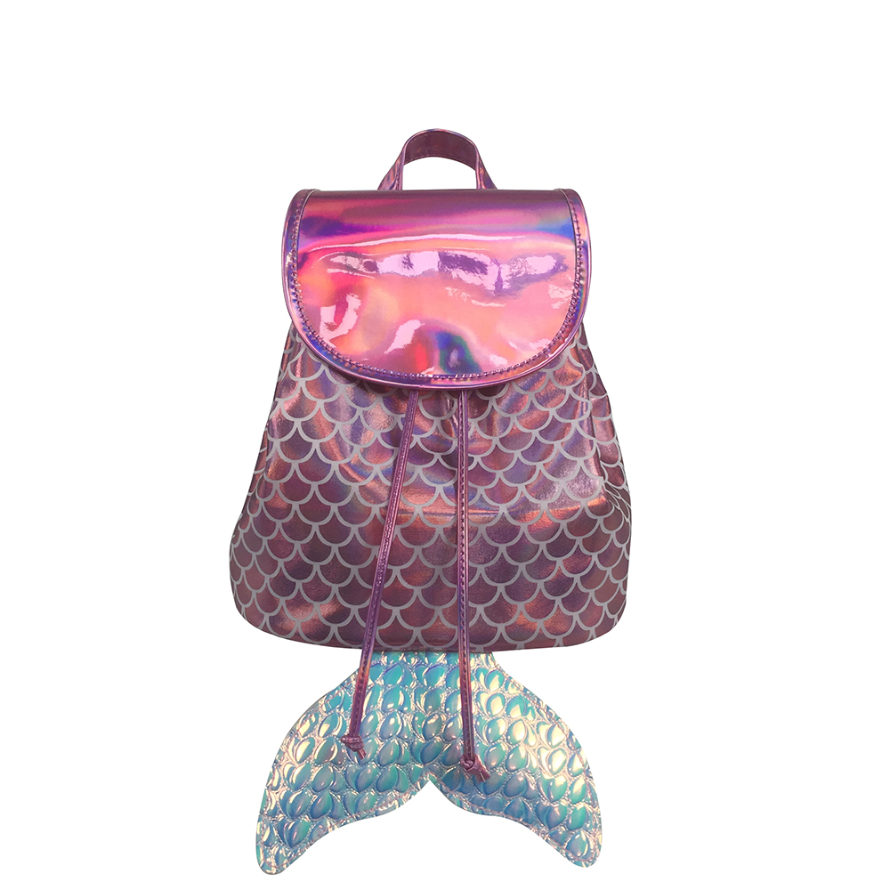 OEM logo sparkle scale polyester mermaid tail drawstring bucket kids backpack small dance outdoor <strong>bag</strong> for little kids girls
