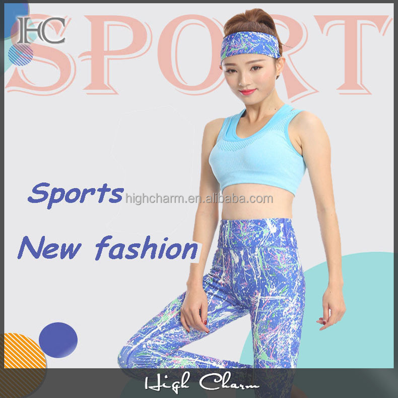 2017 new arrival manufactory free sample poly spandex gym running sports luxury 3D print fancy sexy yoga pant leggings for women