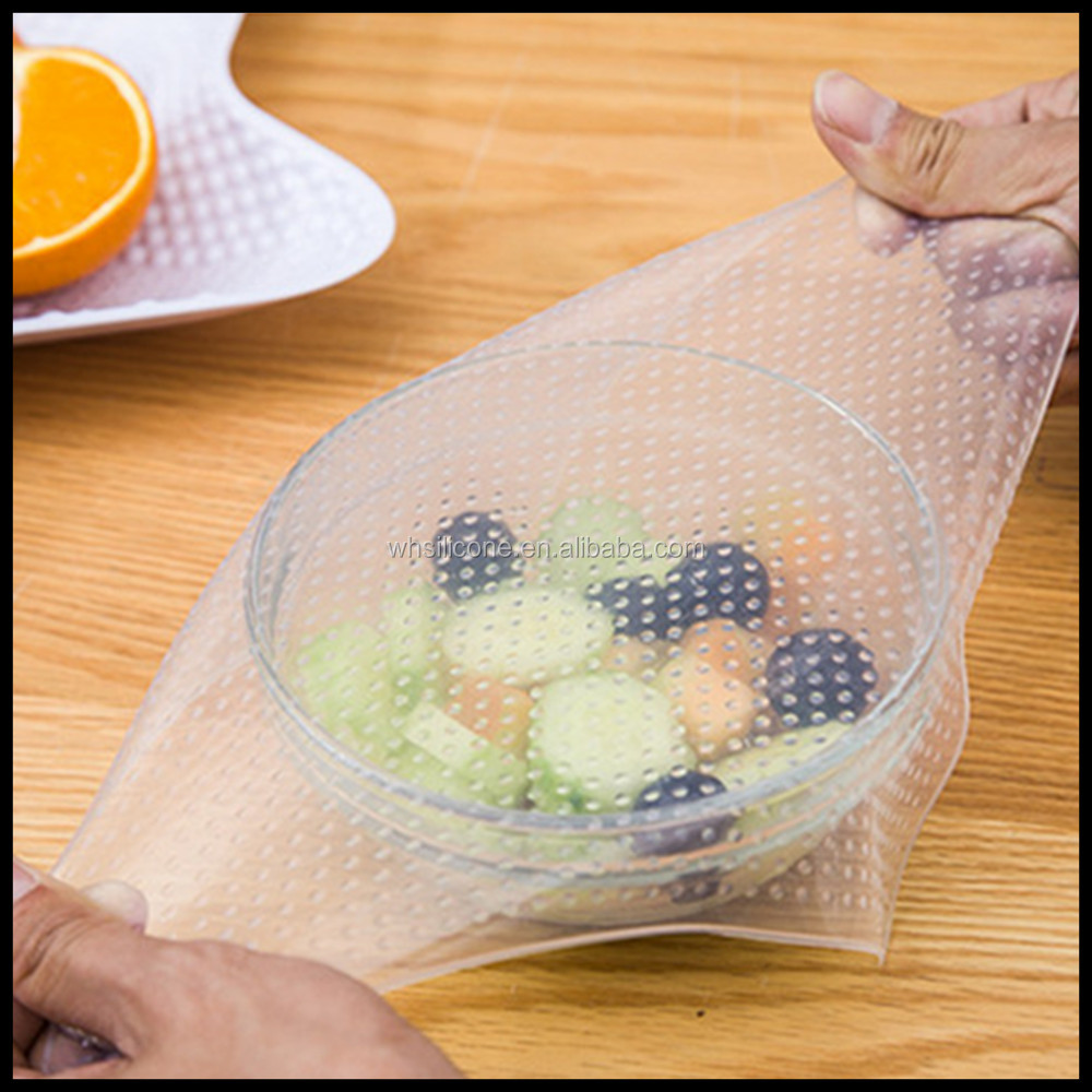 Reusable stretch silicone food wrap seal