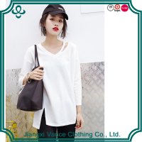 high quality white Long-Sleeve Tee/Pima cotton Relaxed style Top layer side open hemp t shirt for women