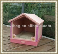 Cute style PU leather soft dog house for pets