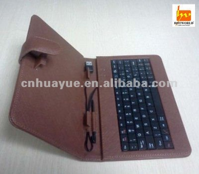brown 7 inch tablet pc leather keyboard case cover