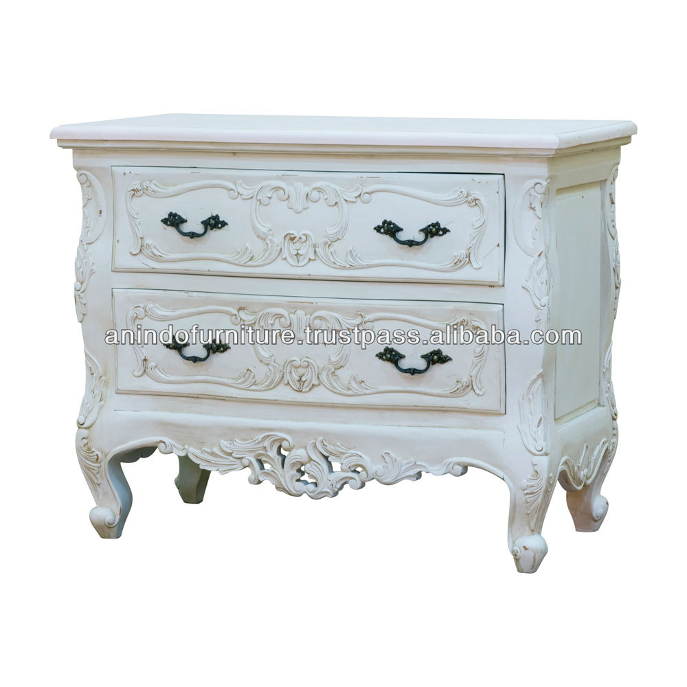White French Heavy Carved Chest of 2 Drawers
