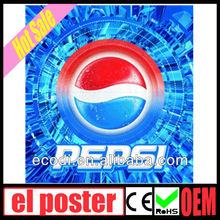 2013 new design high brightness high quality el advertisement/pepsi el poster advertisement