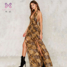 Sexy V-neck chiffon pattern ladies jumpsuits Silk women Jumpsuit