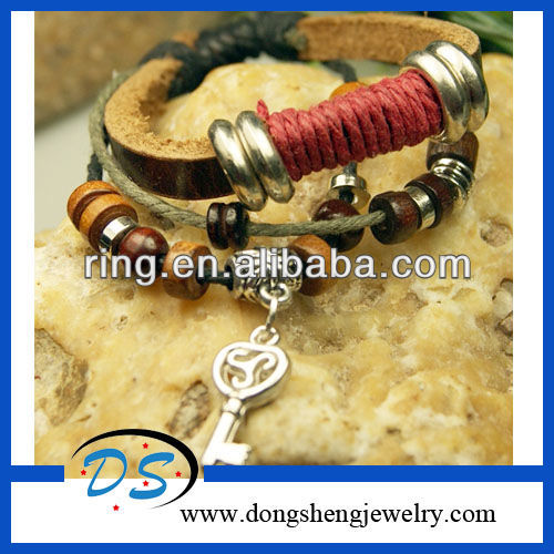 Tibet Silver Key Hemp Weave braided Leather Bracelets