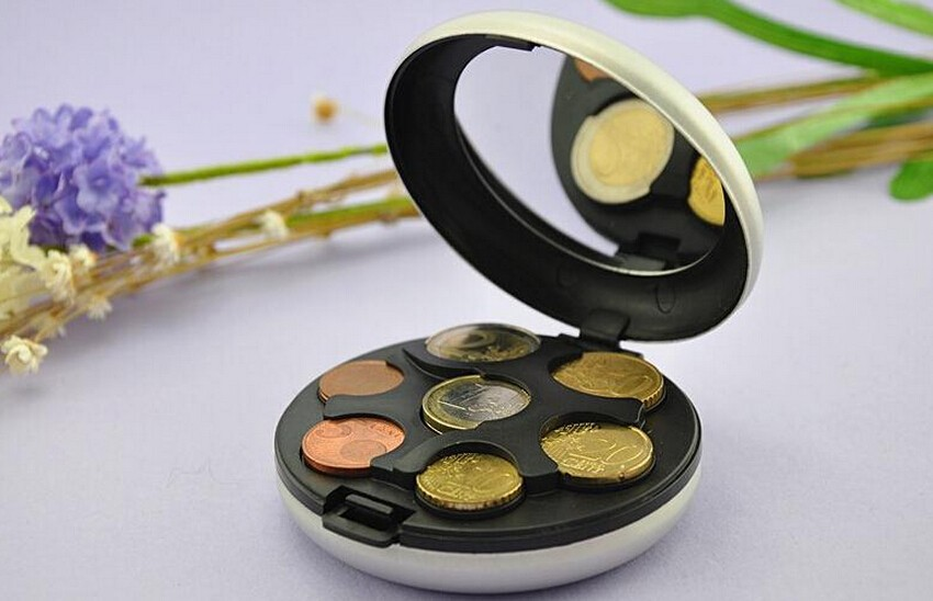 ALUMINUM EURO COIN PURSE COIN WALLET COIN BOX