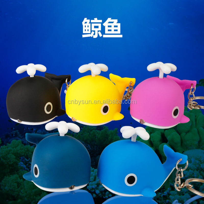 Hot sale bule whale LED keychain with sound and light for promotional gift.