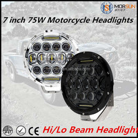 "Factory price 7"" motorcycle led projector headlights 75w round jeep wrangler led headlight off road car part"