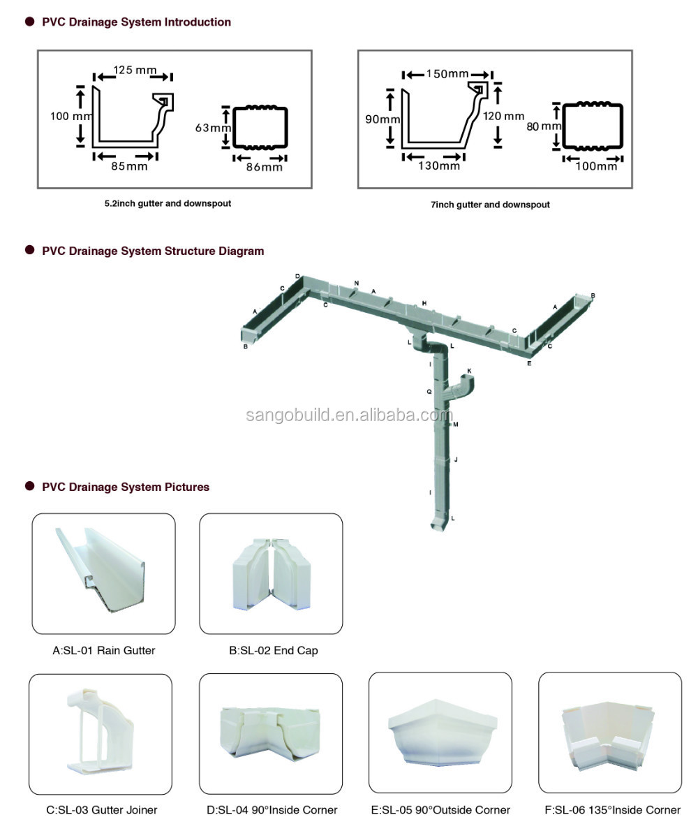 Malaysia Pvc Rain Gutter Price, China Manufacturer 5.2inch Pvc Square Gutter