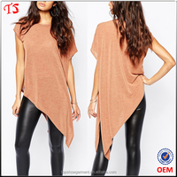 Clothing factory trendy designs custom asymmetric t shirt ladies
