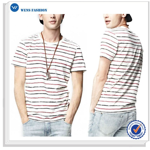 Fancy Casual Youth Fashion Men's Striped Short Sleeves Crew Neck T Shirts