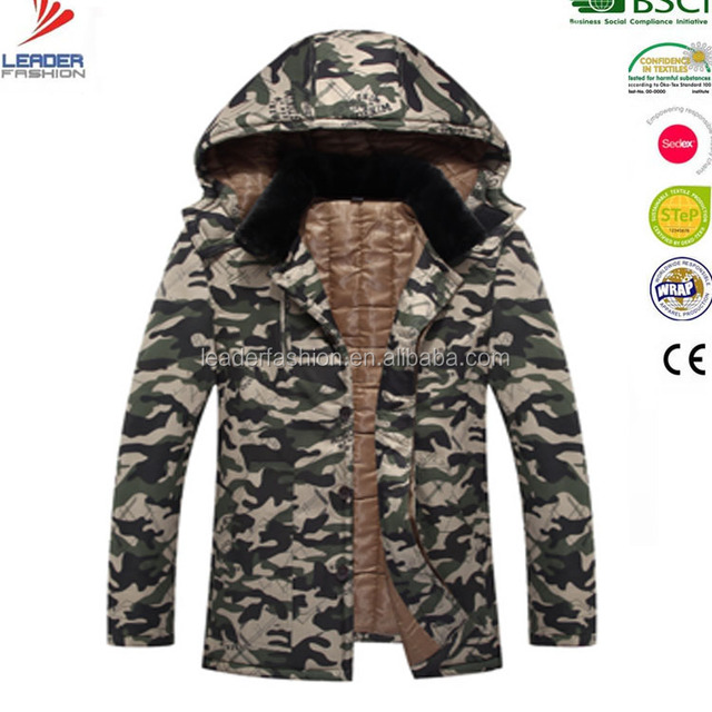 Mens Winter Outdoorwear Woodland Camouflage padded Hunting parka Jacket