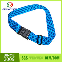 polyester personalized lockable novelty luggage strap with digital scale