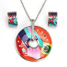 Fashion Jewellery Mixed Colors Enamel Pendant Necklace Stud Earrings Jewelry Set For Women Accessories